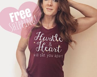 Hustle & Heart Motivational Fitness Apparel Muscle Tank Maroon Womens Workout Yoga Pilates Gym Shirt Gold Sparkle Crossfit Lift Strong Mom