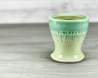 Small porcelain cup.  Bathroom water cup.  Blue to green ombre glazed cup.  Blue bathroom accessories.  Green bathroom set.  Ceramic cup.