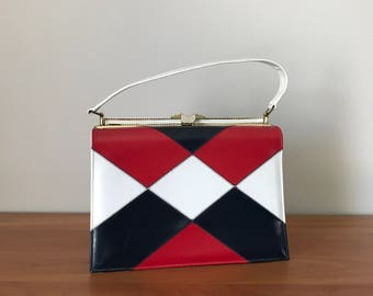Vintage Naturalizer Hand Bag, Red white and blue, Forth of July, Diamond patchwork pattern,Naturlizer Handbag, 60s