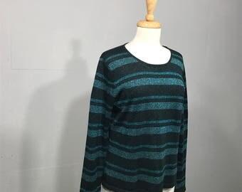Vintage Casual Corner Sweater, Metallic Sweater, Teal and Black Sweater, 80s Metalic Sweater