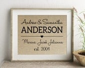 Family Name Personalized Burlap Print | Housewarming Gift for Family Couple | Blended Family Wedding Gift | Children Stepchildren Names
