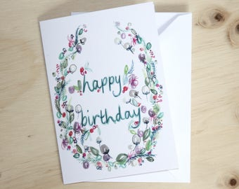 Happy Birthday floral wreath card