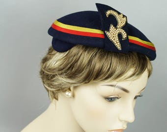 Vintage 1950s Hat Navy Blue with Grosgrain Ribbon and Pearl Accents Sz 21 1/2