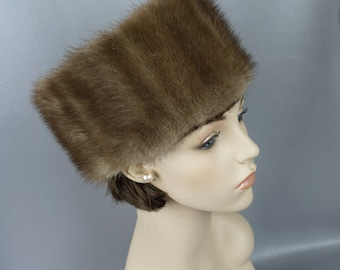 Vintage Fur Hat Cossack Style Muskrat Cloche by Furs by Don Sz 23