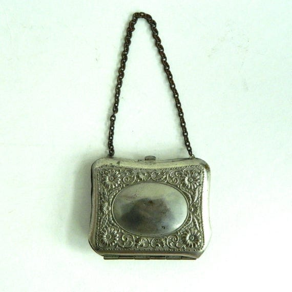 Vintage Victorian Edwardian Chatelaine Ornate Silvertone Change Purse with Chain Handle