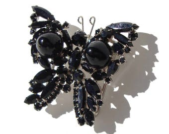 Vintage Juliana Butterfly Buckle DeLizza & Elster Jet Rhinestone Novelty Insect