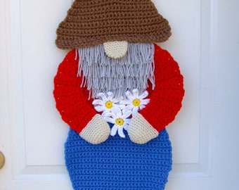 CROCHET PATTERN - CV149 Ned the Gnome Door Hanging - Wall Hanging  - PDF Download