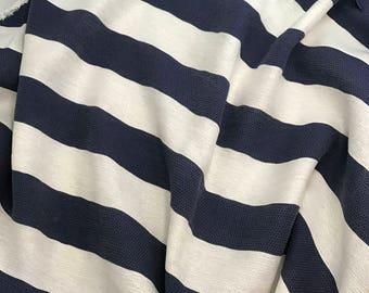 Rayon Woven Fabric - Maggy London Cream & Navy Stripe - 1 Yard