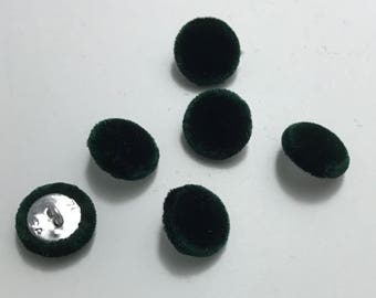 """Dark Forest Green SILK VELVET Fabric Buttons - Hand Made Buttons - set of 6 - 5/8"""""""