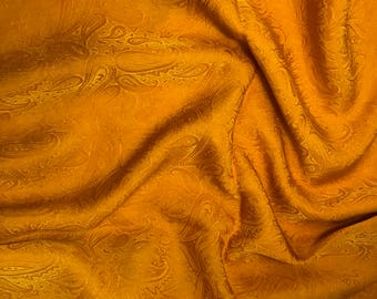 "Hand Dyed Poppy Orange PAISLEY - Silk Jacquard Fabric - 9""x22"" remnant"