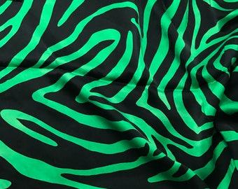 Hand Dyed Silk CHARMEUSE Fabric Bright Kelly Green Zebra Stripes - fat 1/4