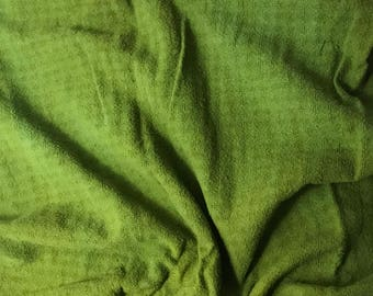 Avocado Green - Hand Dyed Checkered Weave Silk Noil - 1 Yard