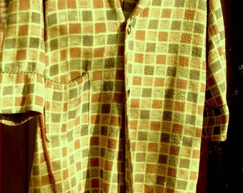 Vintage BEACON BLANKET ROBE Warm Yellow Multi Checks All Cotton M/L