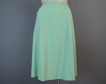 Vintage Spring Green Skirt fits 26 inch Waist, 1960s Summer A-line Skirt