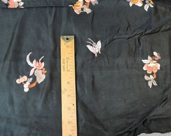 Antique Dress Remnant Embroidered Black Rayon Satin 1920s 1930s Vintage Scrap Fabric
