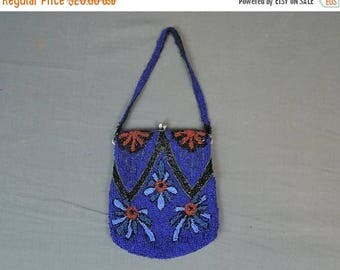 20% Sale - Vintage Beaded Purse Bright Blue & Red, 1920s As Is 5x7 inches