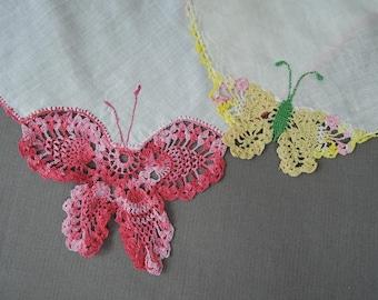 Vintage Hankies with Butterfly Corner,  1950s Novelty Crochet Butterflies