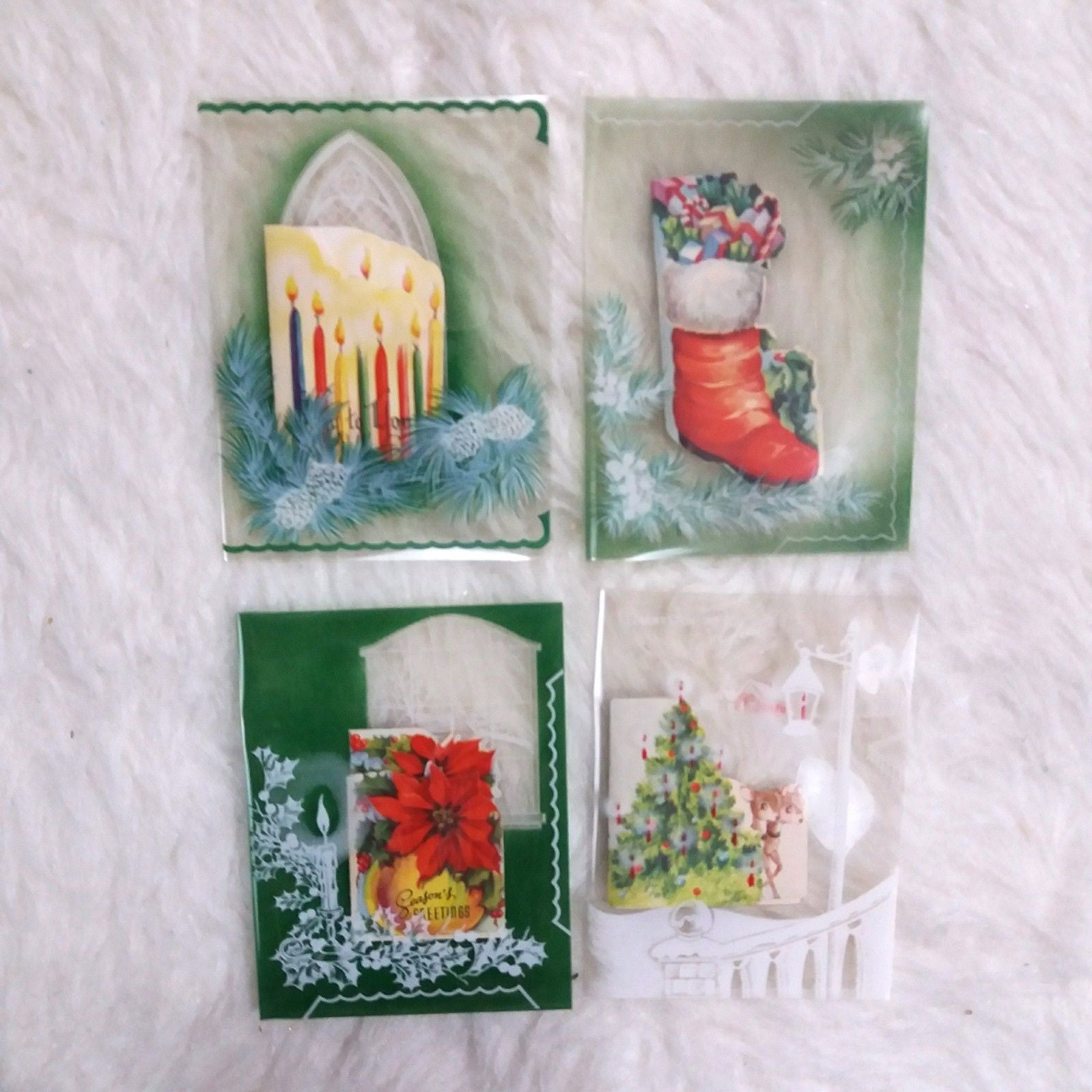 unusual vtg clear layered christmas cards 4 unused christmas