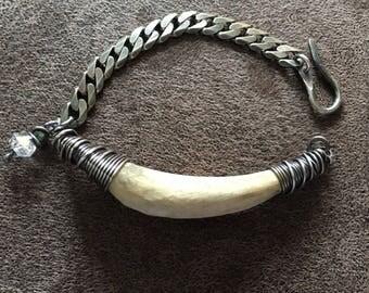 Real Antler Bracelet / Deer Antler / Sterling Silver / Silver Bracelet / Chain Bracelet / Unisex Jewelry / Rustic Jewelry / Daniellerosebean