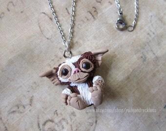 Gremlins inspired Gizmo sculpted  necklace