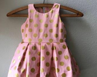 Little Girl Pink and Gold Polka Dot Holiday Dress, Easter Dress, Back To School Dress, Spring Sundress, Toddler Dress, Boutique Dress