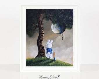 Yesterday Is Only A Dream Away - Limited Edition Print - Alice In Wonderland Art - Remarqued 8x10 - Home Decor - Giclee - Print - Rabbit