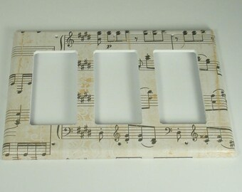 Triple Rocker Light Switch Cover Wall Decor Switchplate Switch Plate in Symphony   (157TR)