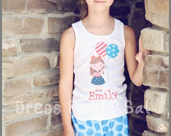 July 4th personalized patriotic t shirt for little girls
