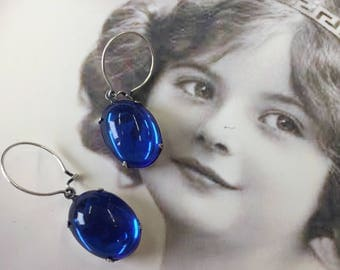 Vintage West German Glass Sapphire 13x18 Cabochons In Sterling Silver Ox Plated Settings with Earring Kit Option 2203SOX x2
