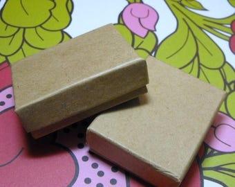 STOREWIDE SALE 50 Pack Kraft Cotton Filled 11 Size Cotton Filled Boxes 1  7/8 Inch by 1  1/4 inch by 5/8 Inch Size