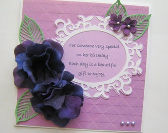 60th Handmade Birthday Card - Embellished Card - Shabby Chic - Milestone Birthday