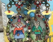 Lilygrace Mr and Mrs Gnome Handpainted Cameo Earrings with Vintage Glass Beads, Flower Sequins and Vintage Rhinestone Chain