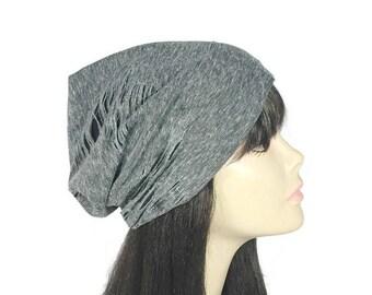 Grunge Hats Gray Grunge Hats Grunge Slouchy Beanie Unisex Gray Grunge Slouchy Hat Men's Gray Jersey Beanie Reversible Hats  Custom Sizes