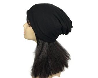 CUSTOM SIZE/LINING Black Winter Skull Cap Lightweight Fleece Slouchy Hat Man's Fleece Hat Woman's Fleece Hat Warm Skull Cap Unisex Black Hat