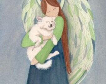 American eskimo cradled by angel / Lynch signed folk art print