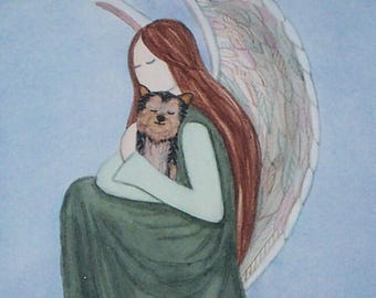 Yorkshire Terrier (yorkie) with angel / Lynch signed folk art print