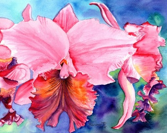 Watercolor Orchids,  Original Watercolors, Orchid Paintings, Pink Orchids, Tropical Flower Art, Kauai Fine Art, Hawaiian Original  Art