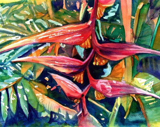 Original Watercolors, Heliconia Paintings,  Tropical Flower Paintings, Kauai Fine Art, Hawaiian Wall Decor, Hawaii, Hanging Heliconia