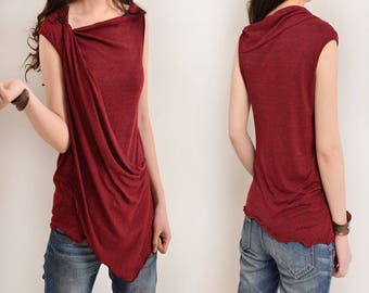 Free Shipping SALE WINE size S - My Zen 2 - draping tank top (Y3112)