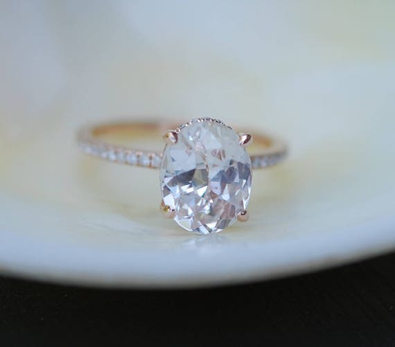 Blake Lively ring White Sapphire Engagement Ring oval cut 14k rose gold diamond ring 3.54ct Peach sapphire ring