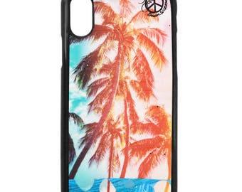 NEW iPhone X Case, Best Seller, RAINBOW PALMS, Modern, Surf, Sunset, Hawaii, Aloha, iPhoneX, Beach, Art, black case color