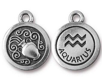 Aquarius Zodiac Antique Silver Charm TierraCast Zodiac Sign Astrology Charm Lead Free Pewter 18.75x15.75mm One Charm