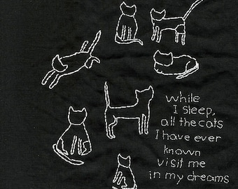 All the cats I have ever known. Original, one of a kind embroidered piece by Vivienne Strauss.