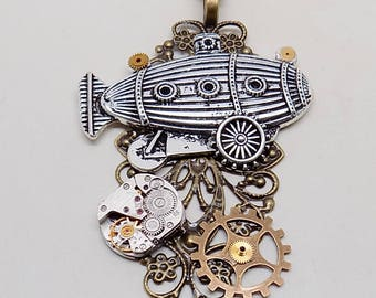 Steampunk pendant. Steampunk beetle necklace.