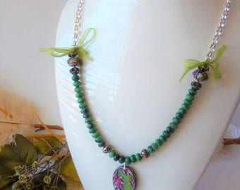 ChristmasInJulySALE..... Sale......One of a Kind Gemstone, Sterling Silver, Polymer Clay, and Ribbon Necklace
