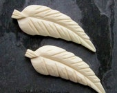 Carved Bone, Feather Pendant, Bone Pendant, Tribal Bead, Vintage Bone Bead, India Bead, Bohemian Jewelry Supplies, Feather Bead, 2 Pendants