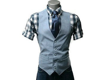 80's mens light blue wool waistcoat vest