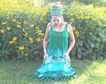 Like a Desert Spring ~ Flowing ~ Eco Gypsy ~ Patchwork Hippie ~ Tie Dye ~ Fairy Hem ~ Adjustable Tank Top Lace Spinners Dress