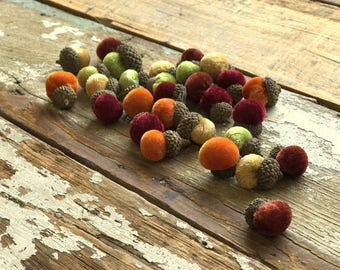Velvet Acorns with Real Acorn Caps - Multi Color - Fall Blend - 30/pack