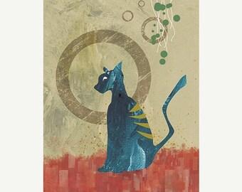 50% Off Summer Sale - 24x36 Cat Art Print - Contemplation - LARGE Print - Modern Home Decor Wall Art